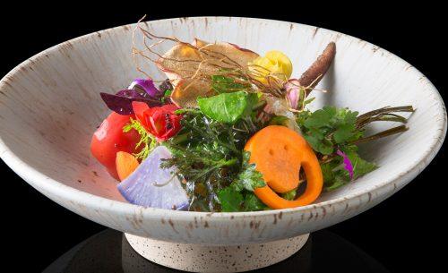 東京・神宮前の日本料理店「傳(DEN)」のサラダ「畑の様子」