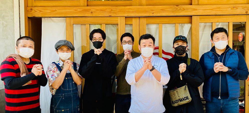 左から クボカリー 久保さん、そいさぼ 田端さん、炉端 百式 上山さん、餃子のラスベガス 川瀬さん、こみかん 末安さん、博多だるま 河原さん、FIGO 城戸さん